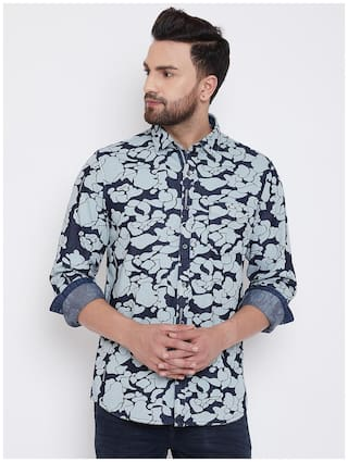 CANARY LONDON Men Blue Printed Slim Fit Casual Shirt