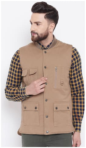 Men Cotton Blend Sleeveless Bomber Jacket