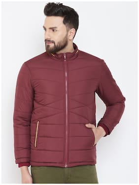 Men Nylon Long Sleeves Quilted Jacket