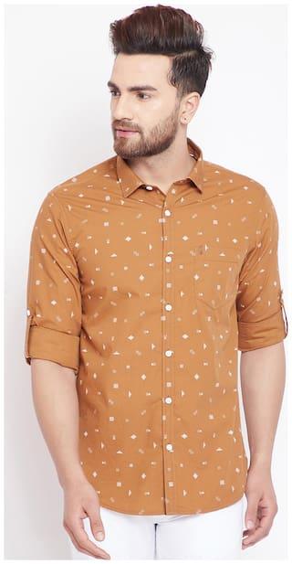 CANARY LONDON Men Orange Printed Slim Fit Casual Shirt