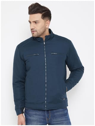 CANARY LONDON Men Navy blue Solid Bomber jacket
