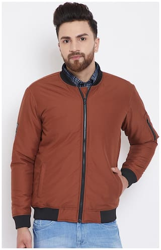 CANARY LONDON Men Brown Solid Bomber jacket - Brown
