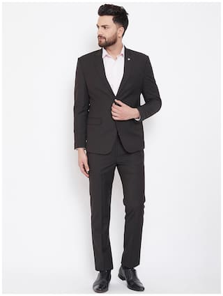 CANARY LONDON Men Polyviscose Textured Blazer and Trouser Black