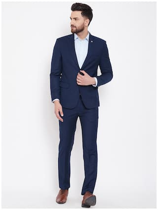CANARY LONDON Men Polyviscose Textured Blazer and Trouser Blue