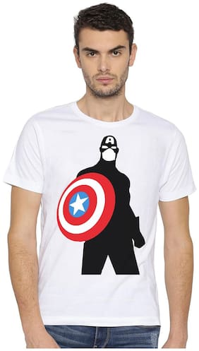 Canis Captain America Avenger |Trendy| Round / Crew Neck Men's White Printed T-Shirt