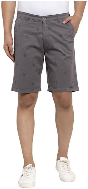 Cantabil Men Grey Regular Fit Regular Shorts