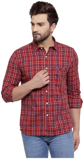 Cantabil Men Red Checked Slim Fit Casual Shirt