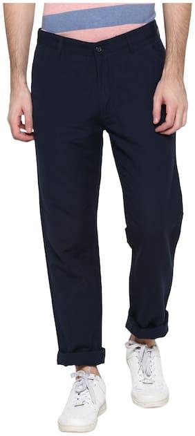 Cantabil Men Blue Solid Regular fit Regular trousers