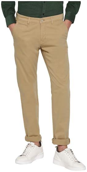 Cantabil Men Beige Solid Regular fit Regular trousers