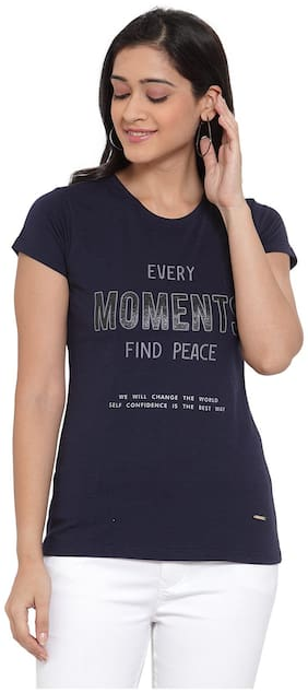 Cantabil Women Half Sleeves Round Neck T-Shirt (Navy)