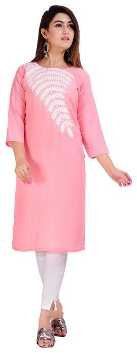 CANVIR Women Pink Embroidered Regular Kurta