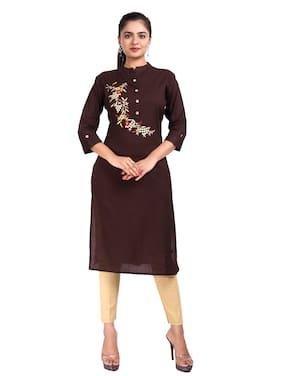 CANVIR Women Brown Embroidered Straight Kurta
