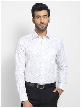 cape canary Men White Printed Regular Fit Casual Shirt