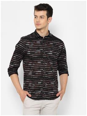 cape canary Men Black Printed Regular Fit Casual Shirt