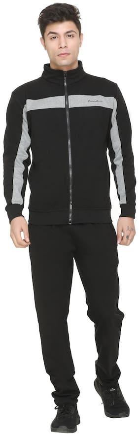 Caracas Men's Fleece Track Suit For Gym And Sports -Black