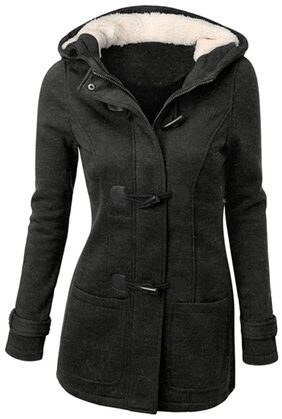 Casual Hooded Solid Color Double-Pocket Flocking Long Sleeve Coat For Women