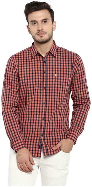 Red Tape Men Orange Checked Regular Fit Casual Shirt