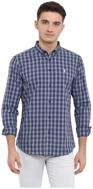 Red Tape Men Blue Checked Regular Fit Casual Shirt