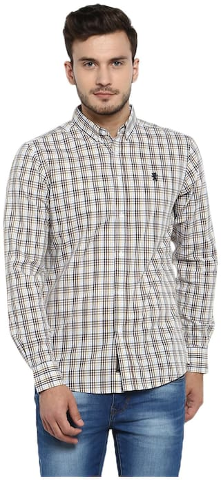 Red Tape Men Beige Checked Regular Fit Casual Shirt