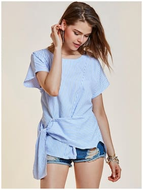 Young17 Women Polyester Striped - Wrap top Blue