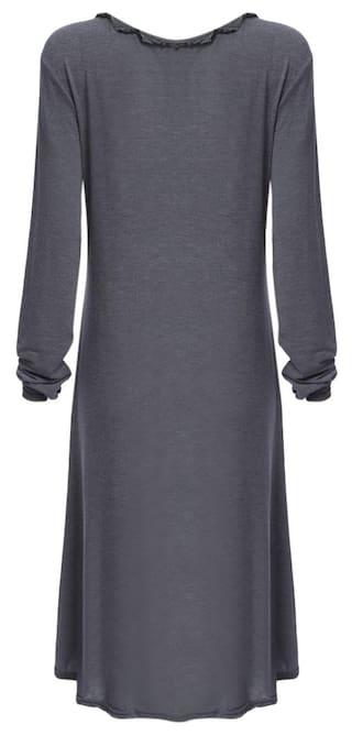 Button Loose Women Asymmetrical Neck V Design Casual Dress qHwx1Xgw