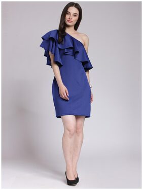 Cation Blue Solid One shoulder Dress