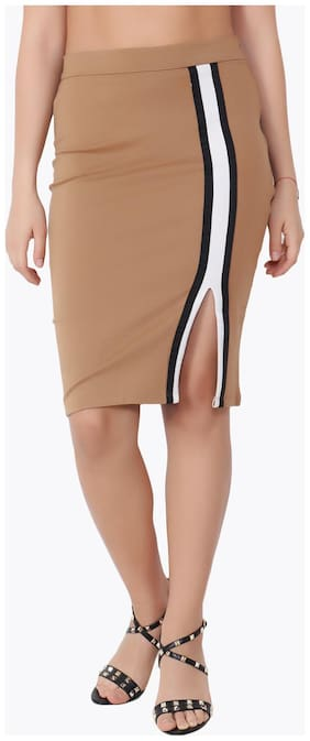 Cation Solid Pencil skirt Midi Skirt - Brown