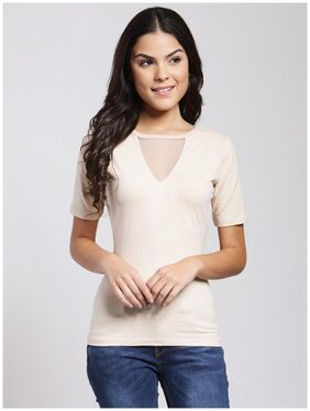 Cation Women Cotton Solid - Regular Top White