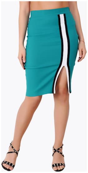 Cation Solid Pencil skirt Midi Skirt - Green
