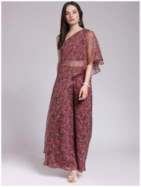 Cation Chiffon Printed Assymetric dress Maroon