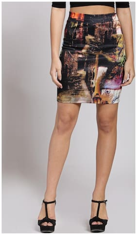 Cation Printed Pencil skirt Midi Skirt - Black