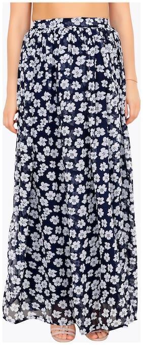 Cation Floral A-line skirt Maxi Skirt - Blue