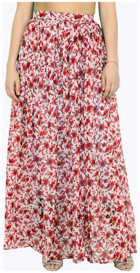 Cation Floral A-line skirt Maxi Skirt - Red