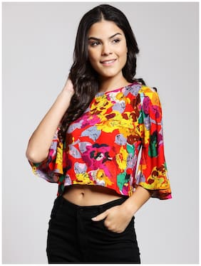 41a92538fcd Cation Women Rayon Printed - Regular Top Multi