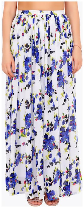 Cation Floral A-line skirt Maxi Skirt - White