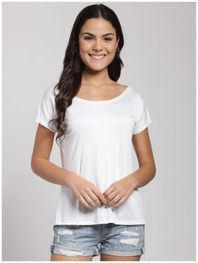 Cation Women Polyester Solid - Regular Top White