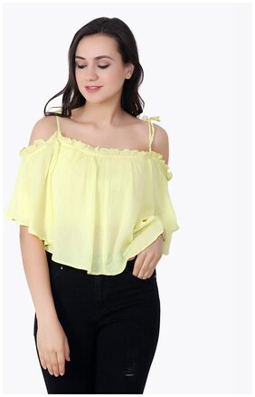 Cation Yellow Solid Crop Top
