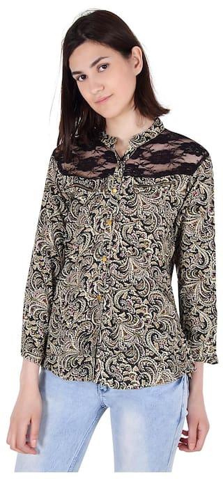 amp; The Cattleya Net Black At Beige Cotton Rayon Yoke Women's Shirt With qwTwrvHIn