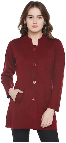 Cayman Women Solid Regular Fit Coat - Red