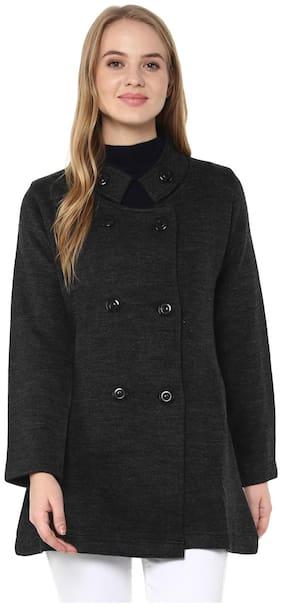 Cayman Women Solid Regular fit Coat - Black