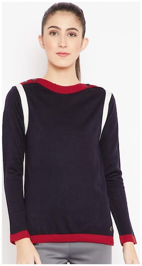 Cayman Women Solid Pullover - Blue