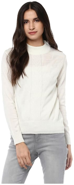 Cayman Women Solid Sweater - White