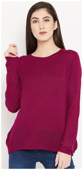 Cayman Women Solid Pullover - Pink