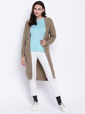 Cayman Women Taupe Self Design Woollen Front-Open Longline Poncho