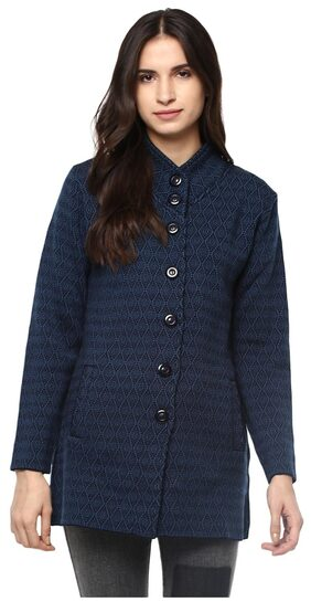 Cayman Women Blue & black Patterned Coat
