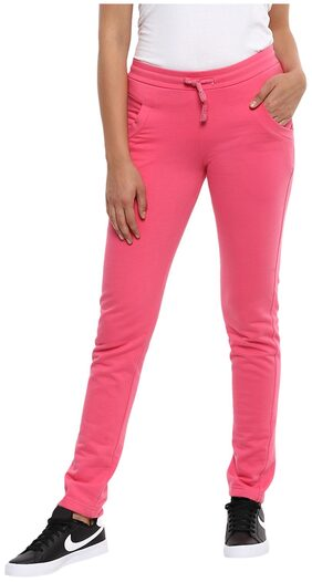 Cayman Women Regular Fit Cotton Solid Track Pants - Pink