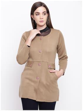 Cayman Women Solid Regular fit Coat - Brown