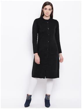 Cayman Women Self design Regular fit Coat - Black