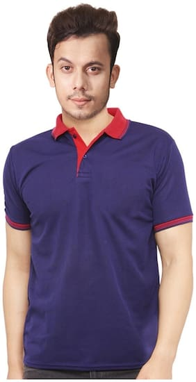 Ceazar Men's T-shirt Polo Pocket Blue Red
