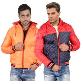 CEAZAR Men Polyester Regular Fit Jacket - Red & Orange